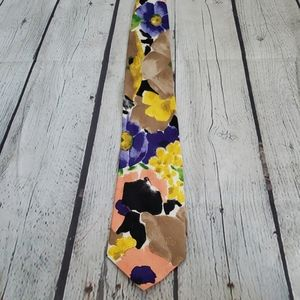 VINTAGE WATERCOLOR COLORFUL FLORAL SILK TIE